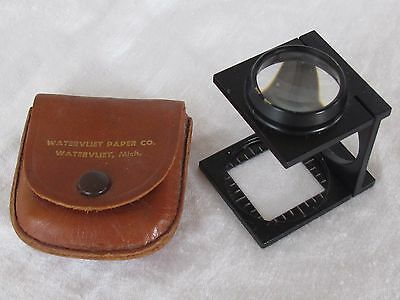 Vintage Pocket Folding MAGNIFYING GLASS LOUPE THREAD Fiber COUNTER Watervliet Co