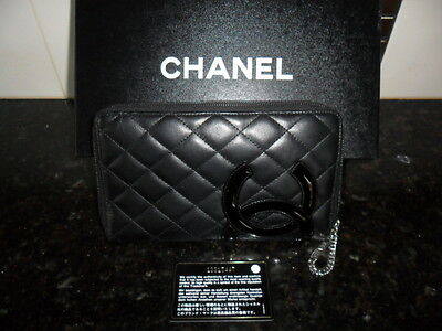 CHANEL Cambon Line Black Leather Zip Around Long Wallet Organizer