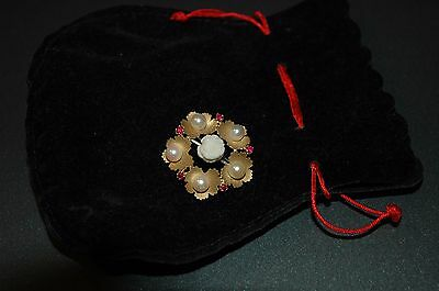 Broche Or Jaune 18 Cts Corail Perles Et Rubis