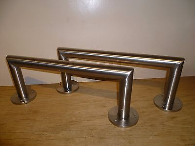 2 x Brushed Steel High Quality Hair Salon Footrests