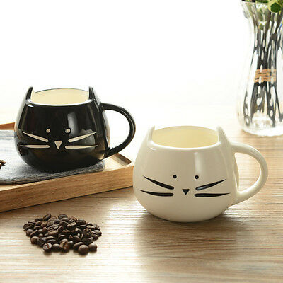 Lovely White / Black Cat Coffee Milk Light Ceramic Lovers Mug 420ml Couples Cup