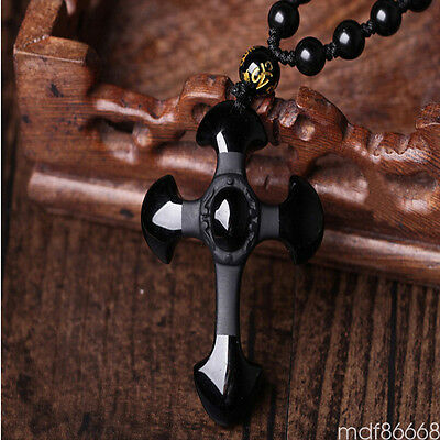 Natural Black Obsidian Carved Cross Lucky Pendants + free Beads Necklace