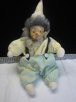"Vintage Clown Doll Green Yellow with Suspenders and Hat 10""  #171"