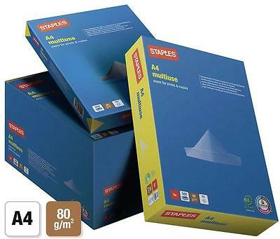 A4 White Multiuse Office Paper - Pack of 5 Reams (500 Sheets Per Ream) 80gsm