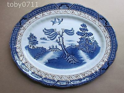 """BOOTHS REAL OLD WILLOW A8025 GOLD TRIM 12¼"""" OVAL PLATTER (Ref1453)"""