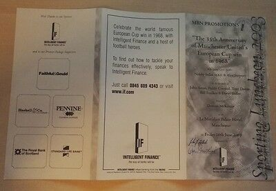 MANCHESTER UNITED 35th ANNIVERSARY MENU OF 1968  EC FINAL WIN. SIGNED ON COVER.
