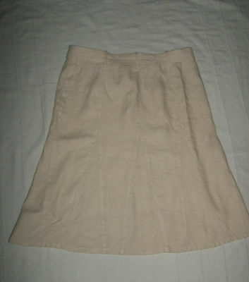 mint c. ESPRIT 100% linen skirt with belt  Size UK 14 16 Eur 46 Waist 32'' ecru