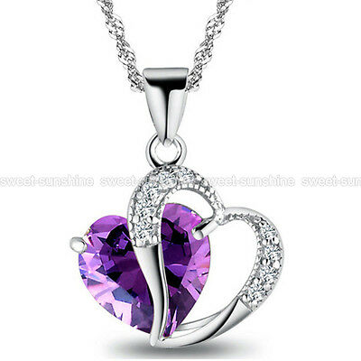 Fashion Women Heart Crystal Rhinestone Silver Chain Pendant Necklace Party Gift