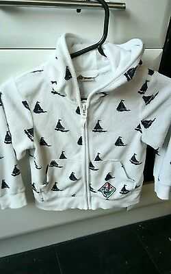 NEXT girls white boat sailor flannelette hoodie 2-3 years