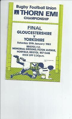 Gloucestershire v Yorkshire Championship Final Rugby Union Programme 1983