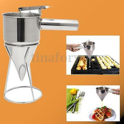 Stainless Steel Utensils Conical Funnel with Shelf Octopus Fish Balls Tool