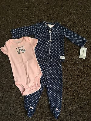 New With Tags Carters Baby 3 Piece Set Girls Size 0-3 Months