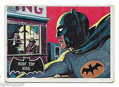 1966 Topps BATMAN Black Bat (5) Roof Top Vigil