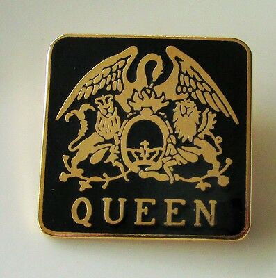 QUEEN BAND CREST OLD BLACK ENAMEL PIN BADGE FROM THE 1980's FREDDIE MERCURY