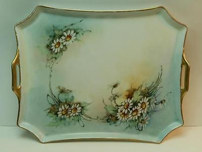 Antique Bavaria Hand Painted Daisies Pastel Background Reticulated Handles Tray