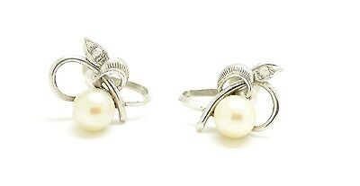 Stunning 14ct White Gold Cultured Pearl Earrings with Screw Fittings