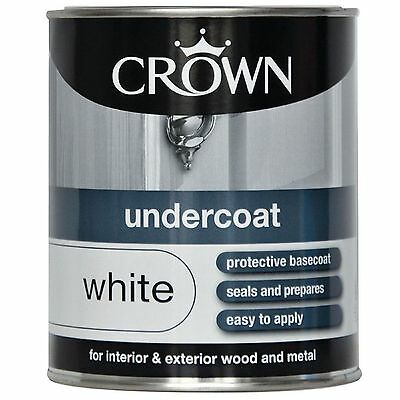 Crown Undercoat White 750ml interior and exterior wood and metal