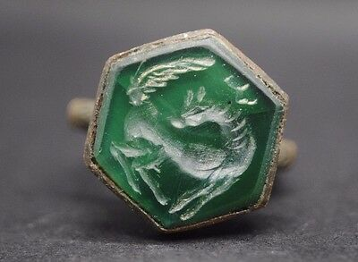 Superb Large 18Th Century Intaglio Ring With Green Hardstone Insert