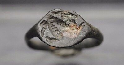 Superb Ancient Roman Bronze Seal Ring Of Galloping Horse