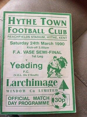 Football Programme Hythe V Yeading 24 March 1990 Fa Vase Semi Final