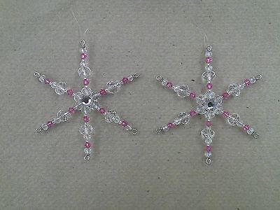 Two Swarovski Crystal Rose Pink Glass Beaded Snowflake Suncatcher Ornaments