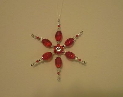 Red Glass Beaded Snowflake Christmas Tree Ornament Suncatcher Decoration