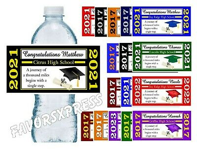 100 GRADUATION WATER BOTTLE LABELS FOR PARTY FAVORS - Glossy - Waterproof Ink