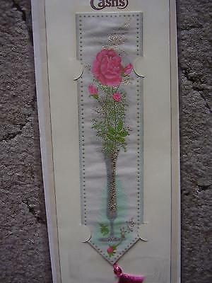 """Cash's Silk Bookmark """" Pink Roses"""" with envelope still packaged."""