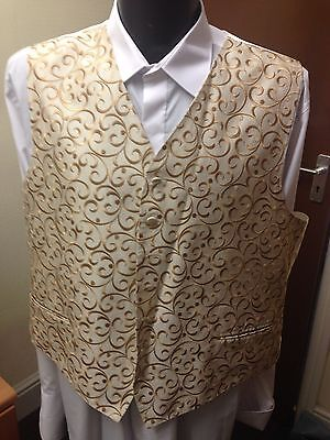 Waistcoat, Gold Scroll Pattern, Various Sizes, Wedding / Formal Wear (033)