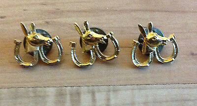 Lot of 3 Gold-Toned Equestrian Pins Horse Donkey Mule Horseshoes