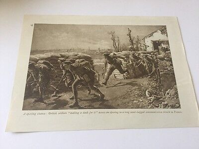 Ww1 British Army Soldiers Communication Trench France  1915 Original Print