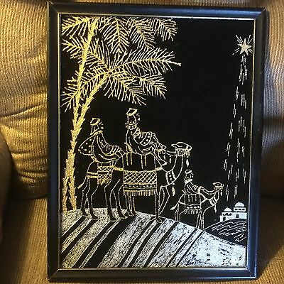Velvet Painting W / 3 Wise Men - Nativity- Gold And Silver On Black - Very Nice