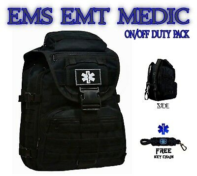EMT Medic EMS Backpack Duty Bag - Star of Life First Aid Kit - FREE Key Chain -