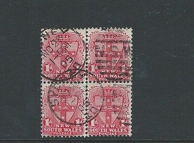 1905 New South Wales Excellent Cds Block Of Four Sg290 Rose-Carmine Die Ii