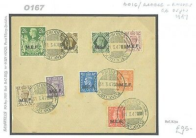 DBO167 1947 DODECANESE ISLANDS BOIC Rhodes Greece Values to 2s6d/Used CTO Envelo