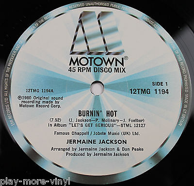 "JERMAINE JACKSON Burnin Hot / Castles Of Sand 12"" vinyl UK 1980 Motown"