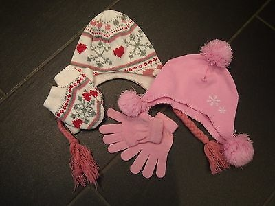 Bundle of hats and gloves girl age 2-4 years