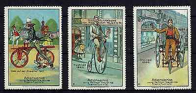 Stamps Thematic Cycling-3 German Labels Showing Evolution Of Bicycle 1817-1880
