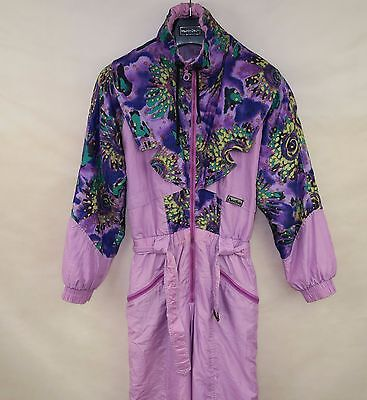 ACTIVE VINTAGE WOMENS SKI SUIT ONE PIECE size S SNOW SUIT FLOWERED