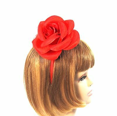 Red Satin Headband Fascinator Removable 3-Way Satin Rose Red Hat Society Ladies