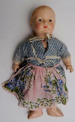 """Vintage 13"""" Blonde Horsman Composition Doll with Clothes Apron and Crier"""