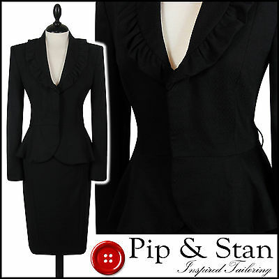 New Next Uk10/12 Us6/8 Black Pencil Skirt Suit 50S Inspired Womens Ladies Size