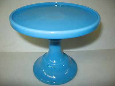 Blue milk Glass cake serving stand / plate platter pedestal raised tray cupcake