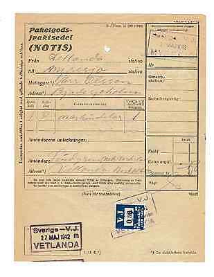 World Postal History-Sweden 1942 Railway Parcel Way Bill With Rly Parcel Stamp
