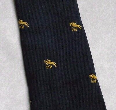 Horse Racing Show Jumping Tie Vintage Retro Navy Gold 1970S Equestrian Sport