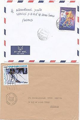 Mauritania 1988-93 winter Olympic games stamp on 2 cover to Finland