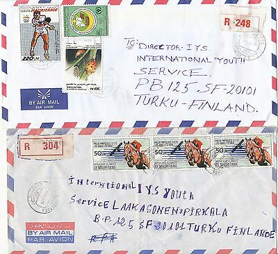 Mauritania 1988 horse riding olympic & insect stamp 2 registered cover toFinland