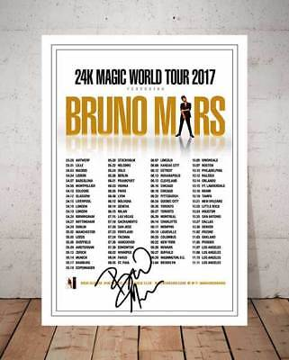 Bruno Mars 24K Magic 2017 Concert Flyer Autographed Signed Photo Print - 1