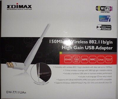 Edimax 150Mbps wireless 802.I Ib/g/n high gain USB Adapter