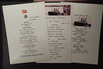 Titanic Limited Edition, 1St, 2Nd And 3Rd Class Menus. + Free Gift
